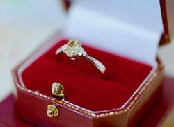 Antique Jewellery Gold Ring Natural Untreated Yellow Diamond Vintage Jewelry