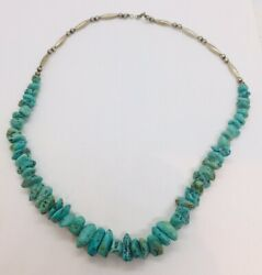 Vintage Navajo Native American Sterling Silver Blue Turquoise Beaded Necklace