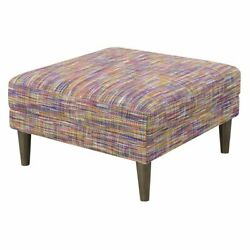 Wallace And Bay Holland Ottoman With Wood Legs In Gray