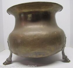 Old Brass Copper Planter Pot Three Claw Feet Hammered Dovetailed Round Belly Pot