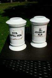 Two Antique French Porcelain Apothecary Jars Syr Capill Ven And Ol Jecor As Alb