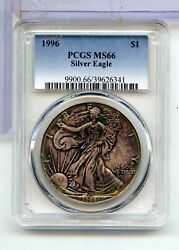 1996 American Eagle 1 Oz Silver Dollar Pcgs Ms 66 Certified One Ounce - Mh546