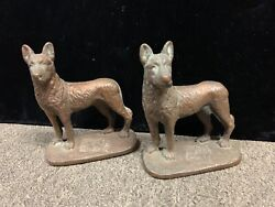 Antique 1929 Gift House Inc. Bronzed German Shepard Bookends Ny And Dc Rare