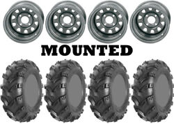 Kit 4 Ams Swamp Fox Plus Tires 25x8-12/25x10-12 On Itp Delta Steel Silver Can
