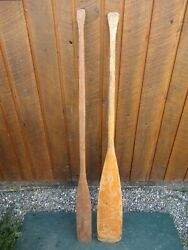 Great Old Set 2 Odd Different Oars 56 + 55 Long Boat Wooden Paddles