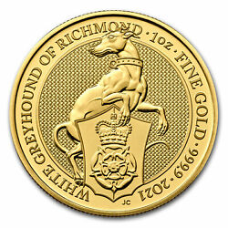 2021 Great Britain 1 Oz Gold Queenand039s Beasts The White Greyhound - Sku217698