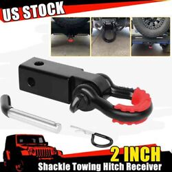 2 Trailer Shackle Hitch Receiver 3/4 D-ring Tow Hook Winch Receiver And Shackle