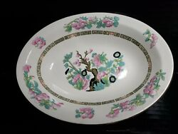 Vintage Crown Clarence Indian Tree China Oval Vegetable Serving Bowl 9 3/4 X 7