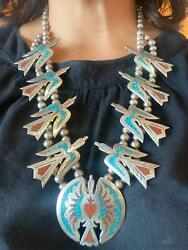 Sterling Silver Peyote Bird Turquoise And Coral Chip Inlay Squash Blossom