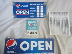 Pepsi-cola Soda New Open/closed Signs 2 And Pepsi Glass Door Push/pull Decal