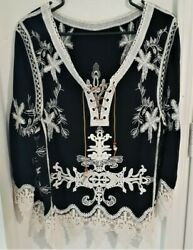 Embroidered Crochet Lace Boho Gypsy Hippie Blouse Black Festival Deco New M L