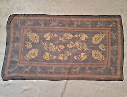 Scarf Vintage Authentic Dalmatian Dogs Floral Thread Chiffon Silk Long Womenand039s