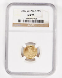 2007-w 1/10 Oz Gold American Eagle Ngc Ms70 5 Brown Label