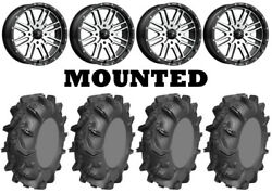 Kit 4 Ams Mud Evil Tires 32x10-14 On Msa M38 Brute Machined Wheels Can
