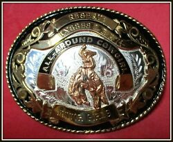 Wow Comstock Solid Sterling Silver 1974 All Around Cowgirl Trophy Belt Buckle