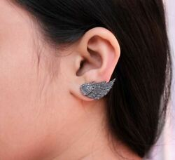 14k Gold Pave Diamond Wing Cuff Earrings 925 Silver Easter Gift Jewelry Jp