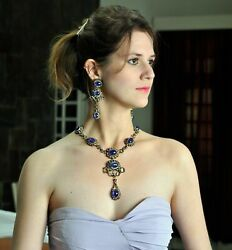 14k Gold Tanzanite Gemstone Necklace And Earrings Set .925 Sterling Silver Jp