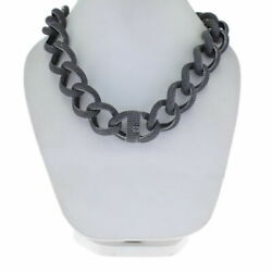 Black Spinel Chain Necklace 925 Sterling Silver Vintage Style Fine Jewelry Jp