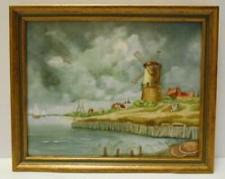 Windmill By The Water Hand Painted Art Tile Wall Hanging By Sally Grubb 9x11