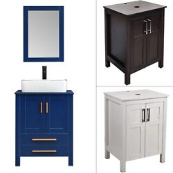 16and039and039 Bathroom Vanity Wall Mounted Small Cabinet Ceramic Sink Faucet Drain Combo