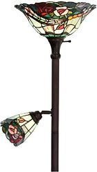 Stained Glass Floor Lamp Torchiere Double Lit Reading Rose Flower Style
