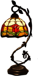 Lamp Tulip Flower Stained Glass Baroque Style Table Reading Bedside Room