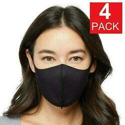 4 Pack Black Soft Cloth Fabric 3D Washable Face Mask Reusable