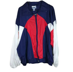 Vintage Mac Gregor Mens Xl Red White Blue Color Block Full Zip Front Windbreaker