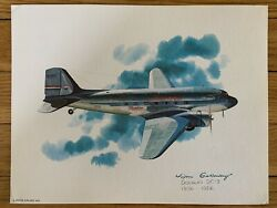 Douglas Dc-3 1936-1956 United Airlines 1976 Collector Print Nixon Galloway