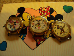 Lot Of 3 Vintage Collectable Disney Mickey Mouse Watches W/o Bands