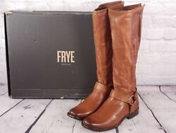 Frye - Medium Calf Leather Tall Shaft Boots - Phillip Harness - Whiskey Brown