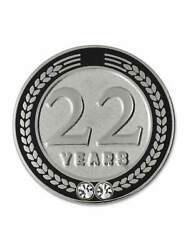 Pinmart's 22 Years Of Service Award Employee Recognition Gift Lapel Pin - Black