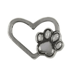 Authentic Origami Owl SILVER DOG CAT PAW LOVE HEART Floating Charm NEW