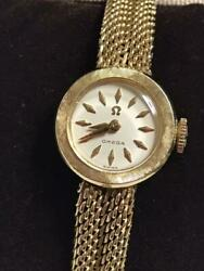 Omega Ladies Wristwatch 14k Gold Antique Genuine 1958s Free Shipping From Japan