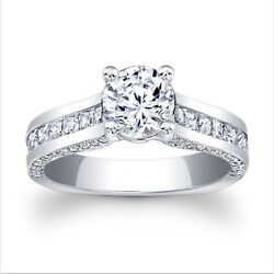 Real Solitaire Diamond 950 Platinum Round 1.71 Ct Engagement Ring Size 6 7 8