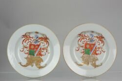 Pair Antique Plates Armorial Plates With The Arms Of De Heere - Qianlong Period