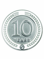 Pinmart's 10 Years Of Service Award Employee Recognition Gift Lapel Pin - White