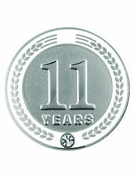 Pinmart's 11 Years Of Service Award Employee Recognition Gift Lapel Pin - White
