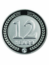Pinmart's 12 Years Of Service Award Employee Recognition Gift Lapel Pin - Black