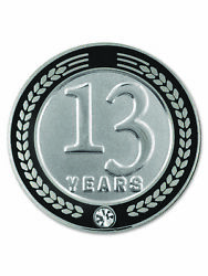Pinmart's 13 Years Of Service Award Employee Recognition Gift Lapel Pin - Black