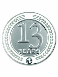 Pinmart's 13 Years Of Service Award Employee Recognition Gift Lapel Pin - White