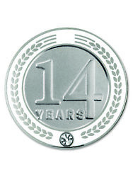 Pinmart's 14 Years Of Service Award Employee Recognition Gift Lapel Pin - White