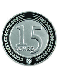 Pinmart's 15 Years Of Service Award Employee Recognition Gift Lapel Pin - Black