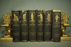 Lot 6 Volumes Antique Old Charles Dickens Books Brown Gold Decorators Shelf