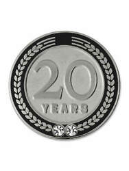 Pinmart's 20 Years Of Service Award Employee Recognition Gift Lapel Pin - Black