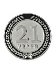 Pinmart's 21 Years Of Service Award Employee Recognition Gift Lapel Pin - Black