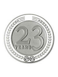 Pinmart's 23 Years Of Service Award Employee Recognition Gift Lapel Pin - White