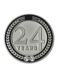 Pinmart's 24 Years Of Service Award Employee Recognition Gift Lapel Pin - Black