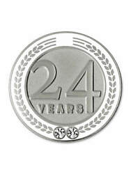 Pinmart's 24 Years Of Service Award Employee Recognition Gift Lapel Pin - White