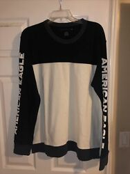American Eagle Black And White Logo Sleeves Long Sleeve Sweater Mens Size Large